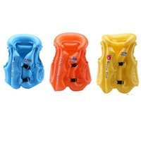 Wholesale child inflatable life vest - Kid Safety Float Inflatable Swim Vest Life Jacket Swimming Inflatables Multiple Stoma Air Leakage Lette Strong sealing 6 2yx dd