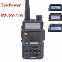 radyo vhf çift yönlü toptan satış-BaoFeng UV-5R 8 W UHF / VHF Dual Band Iki Yönlü Telsiz Walkie Talkie 128 kanal FM / VOX / TOT / Çift ekran / bekleme Yüksek / Orta / düşük Güç