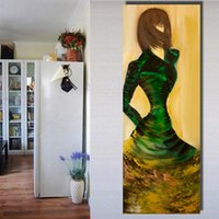 young ladies dresses Australia - Canvas Art Figure Painting Young Lady In Green Dress Wall Pictures For Living Room Home Decor No Framed