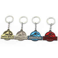 Wholesale Zinc alloy Styles Movie Keychain Jurassic World Pendant Metal Key Ring Holder Car Bag Accessory Men Jewelry