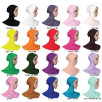 Wholesale muslim bonnets - New Under Scarf Hat Cap Bone Bonnet Hijab Islamic Head Wear Neck Jaw Cover Muslim HM202