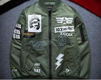 chaqueta de béisbol de rock al por mayor-Hombres / mujeres calle Graffiti rock and roll Baseball Escudo MA1 piloto bombardero chaqueta Outerwear jaqueta feminina chaquetas mujer