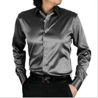 mens camisas de cetim manga longa venda por atacado-Camisa dos homens Moda Coréia Camisa De Seda De Cetim Mens Camisa de Manga Longa Hombre Casais Vestido de Noiva