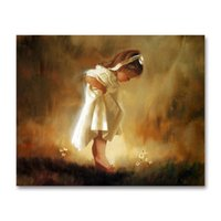 pinturas de niñas al por mayor-diy Pintura al óleo digital muebles para niños Pinturas decorativas niña Falda blanca ángel Lolita Pintura digital ángel