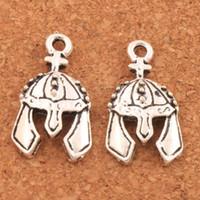 Wholesale knights pendant - 100pcs lot Antique Silver Cross Knight Helmet Spacer Charm Beads Pendants Alloy Handmade Jewelry DIY L259 24.5x14mm