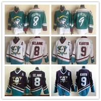 jersey de anaheim poderosos patos al por mayor-Vintage Anaheim Mighty Ducks CCM Wild Wing Jersey 9 Paul Kariya 8 Teemu Selanne retro Mejor cosido Jersey del hockey