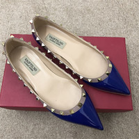 Wholesale sexy photo shoes for sale - Real photo Fashion Women Pumps sexy lady Red Nude patent Point toe studded spikes shoes pumps flats Stiletto heels party shoes