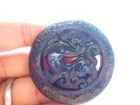ingrosso nero giada scolpito ciondolo drago-Spedizione gratuita Natural AAA nera giada intagliata collana di ciondolo portafortuna drago