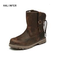 botas de trabajo marrones hombres al por mayor-Botas de trabajo HALINFER para hombre botas de moto de cuero genuino marrón tobillo del oeste de los amantes