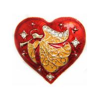 украшения для дня матери оптовых-Старинные Ангел сердце брошь Pin золотой кристалл ювелирные изделия Красный Рождество броши День матери подарок