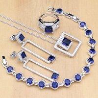 mavi taş kolye küpe toptan satış-Kare Gümüş 925 Takı Setleri Kadınlar Için Mavi Taş Beyaz CZ Boncuk Coustome Küpe / Kolye / Yüzük / Bilezik / Kolye Seti