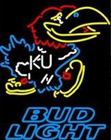 ingrosso neon luminoso di bud-32 * 24 pollici Bud Light Kansas Jayhawks fai da te Glass Neon Sign Flex corda luce al neon Indoor / Outdoor Decorazione RGB tensione 110 V-240 V