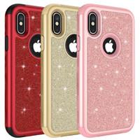 rhinestone-plastik-handyfall großhandel-Diamant strass handy case für iphone 7 8 6 plus x kunststoff silikon hybrid flash pulver case für samsung s9