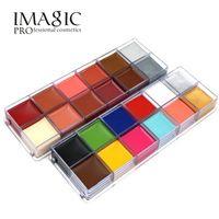 kullanılan flaş toptan satış-IMAGIC 12 Renk Flaş Dövme Yüz Vücut Boya Yağlıboya Sanat Cadılar Bayramı Partisi Fantezi Elbise Güzellik Makyaj Aracı içinde kullanın