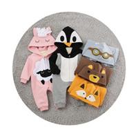 ingrosso zanne animali-JumpsuitsRompers Inverno 2018 nuovo coreano del fumetto animale con cappuccio hailai maschio e femmina neonati doppio spessore bambino tuta Fang mei hua
