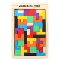 ingrosso giochi di forma del bambino-Giocattoli di legno del bambino Tangram Jigsaw Board Rompicapo Puzzle Giocattoli Forma geometrica Tetris Gioco Bambini Educational Toy
