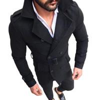 homens de trincheira marrom venda por atacado-Homens Casaco de Camurça Lapela Double Breasted Trench Coat Outwear Turn-Down Collar Brown Bonito 2018 Novo Slim Fit Sobretudo Casaco