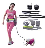 Wholesale pet suit - Multifunction Hands Free Dog Leash Training Suit Pet Dogs Reflective Stripe Adjustable Waist Belt with Pouch Bag for Walking Running KKA5074