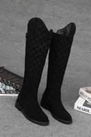 ingrosso g rete-G 2018 Moda lunga autunno signore di marca stivali lunghi per la stampa di fondo piatto pelle scamosciata Zipper marea donne scarpe casual popolare
