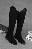 moda sapatos casuais flats venda por atacado-G 2018 Moda Outono Marca de Moda Senhoras Botas Longas Para Impressão de Fundo Liso Camurça Zipper Maré Mulheres Sapatos Casuais Popular