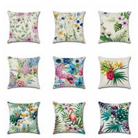 vögel blühen pflanze drucken großhandel-10 Arten Tropische Blumen Pflanzen Serie Kissenbezug Palm Vögel Floral Bedruckt Leinen Kissenbezug 18