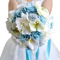 cheap white flower brooch 2018 - Cheap Bridal Holding Brooch Bouquets 2018 Blue White Rose Silk Artificial Forest Wedding Decoration Bridesmaids Flowers CPA1544