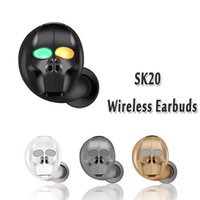 Wholesale skulls earphones resale online - Skull Mini Wireless Bluetooth Earphone Noise Cancelling Stereo Wireless Bluetooth Headset Handsfree for xiaomi iphone huawei