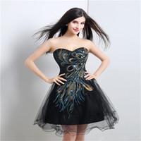 Donna Nero Elegante bella 2018 Backless Breve Prom Dress Mini Abito da  cocktail Tulle Peacock Homecoming Dress f50f60f766d