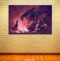 ingrosso paesaggio del castello di pittura a olio-Aliens Vs Darth Vader Pittura a olio, stampe su tela HD Decorazione della casa Soggiorno camera da letto Immagini a parete Pittura di arte (No incorniciato)