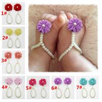 chaînes de cheville pour chaussures achat en gros de-Newbornbaby chaussures Fleur bébé cheville pied pied de la chaîne des pieds de décoration des fleurs décoration Anklet art perle à la main chaussures FS012