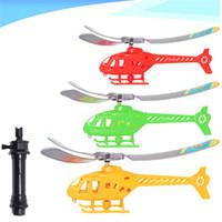 transmisor de helicóptero de control remoto al por mayor-Tirar de la cuerda Manejar Helicóptero Avión Modelo Divertido Lindo de Alta Calidad Al Aire Libre Flying Toy Regalo para los niños