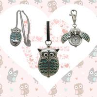 Wholesale pocket watch vintage owl - 2018 New 10colors Cute Vintage Night owl Necklace Pendant Quartz Pocket Watch Necklace Owl Watches