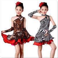 costumes de danse zébrée pour les filles achat en gros de-Fille Leopard Zèbre Frange Robe De Danse Latine Pour Les Filles Gland Salsa Enfant Enfants Ballroom Samba Robes Costume De Tango
