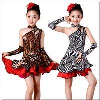 traje da dança da zebra dos miúdos venda por atacado-Menina leopardo zebra franja dança latina dress para meninas borla salsa criança crianças salão de baile samba vestidos de tango traje