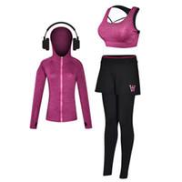 Wholesale xxl ladies long winter coats - Autumn winter new lady 3 pieces sport suit yoga clothing breathable absorbent three-piece bra coat long pants suits XZ-009