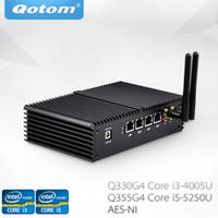 mini pc linux achat en gros de-Qotom Mini PC Q330G4 Q355G5 4 ports LAN Gigabit Core i3-4005U Core i5-5250 AES-NI utilisant pfsense comme routeur Firewall Linux