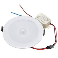 sensor de movimiento led techo al por mayor-5W E27 PIR Sensor de movimiento LED Downlight Wall Path Lámpara Techo Paso Luz 5730 SMD 10 Iluminación AC85-265V