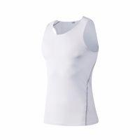 chaleco blanco para correr al por mayor-Brand New Running Vest Top Hombres Gym Yoga Sportswear Jerseys Hombres Dry Gym Ropa sin mangas Blanco Sport Compression Shirt