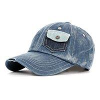 ingrosso cappelli blu jean-Berretto da baseball da uomo in viscosa con visiera a snapback con visiera regolabile e tasche a contrasto da uomo in denim blu FLYBER