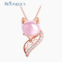 золотые чокеры для женщин оптовых-MOONROCY Rose Gold Color CZ Pink Opal Pendant Chokers  Animal Ross Quartz Necklace for Women Girls Drop Jewelry Wholesale
