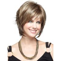 insan saçı perukları kısa açık kahverengi toptan satış-Kadınlar için 2019 yeni varış saç peruk insan kısa saç açık kahverengi sentetik peruk 30 cm