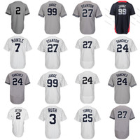 Wholesale l shorts - New York 99 Aaron Judge 25 Gleyber Torres 24 Gary Sanchez Didi Gregorius Stanton Mickey Mantle Babe Ruth 2 All Star Jerseys