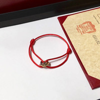 Wholesale lucky bracelets for men - 2018 Famous brand name Top quality bracelet with lucky three rings connect pendant and rope for women and man jewelry gift PS7249