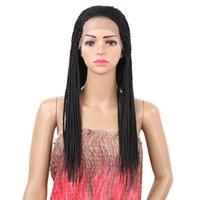 Wholesale braids for wigs resale online - 18 inch Black Wigs Box Braid Wig Heat Resisant Synthetic Braided Lace Front Wig for Women