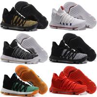 chaussures de l'école primaire achat en gros de-2018 Nouveau Zoom KD 10 Anniversaire PE Oreo Rouge Chaussures De Basket-ball Hommes KD 10 X Élite Basse Kevin Durant Grade School Sneakers