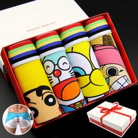 Wholesale cartoon boxers - ABYABYGO Mens Boxer Brand Cotton Cartoon Mens Panties Boxers Underwear Character Breathable Panties Male Plus Size Lovely Cuecas