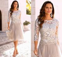 uzun kollu kısa gümüş elbise toptan satış-2019 Kısa Gümüş Anne Gelin Elbiseler Dantel Tül Diz Boyu 3/4 Uzun Kollu anneler Örgün Kısa Gelinlik Modelleri Giymek