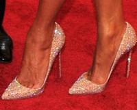zapatos de boda sexy cristales al por mayor-2018 Nuevas mujeres de la manera rhinestone dimaond crystal brillos fiesta de tacón alto rojo bombas de fondo sexy tacones de oro zapatos de la boda