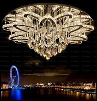 Wholesale flush chrome ceiling lights online - Modern Remote Control Dimmable Led Chandelier Lustre K9 Cristal Stainless Chrome Led Ceiling Chandelier Luxury Foyer Light LLFA