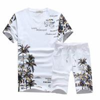 Wholesale chinese neck suits for men resale online - Fashion Summer Short Sets Men Casual Coconut Island Printing Suits for Men Chinese Style Suit Sets T Shirt Pants Designer Tracksuit